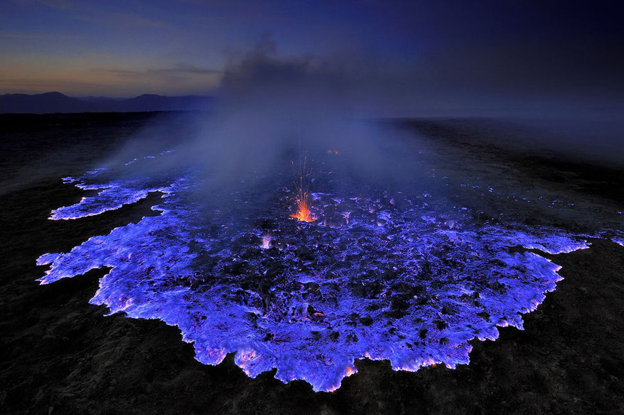 Dangerous Mix Of Beauty And Toxicity: Blue-Flame Volcano